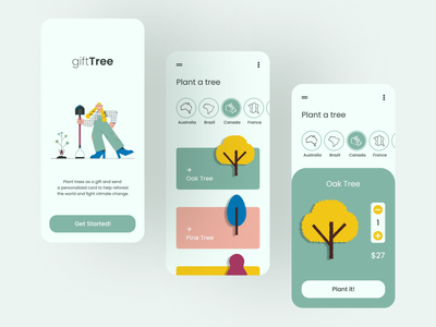 giftTree enviroment treeplanting tree mobile illustration clear clean app design interaction ux ui