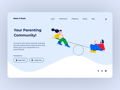 Mom 2 Mom marketplace parenting parents moms webdesign flat illustration clear clean interaction ux ui