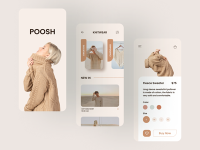 Poosh clothing fashion online shopping online store online shop mobile flat app design clear clean interaction ux ui
