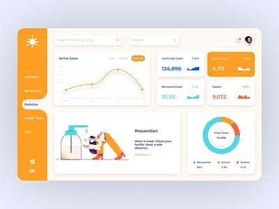 Covid Dashboard charts tracker covid19 covid dashboard webdesign flat clear clean interaction ux ui