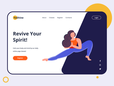 YoShine illustrator yogapose yoga vector minimal webdesign flat clear clean interaction ux ui figma illustraion