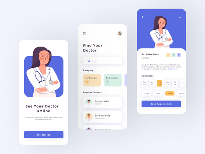 Virtual Doctor Appointments medical care medical app doctors doctor app figma illustration mobile app design flat clear clean interaction ux ui