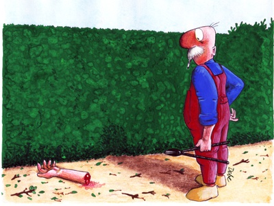 Be careful with the shears, gardener black humour gouache illustration art drawing illustration graphic design design