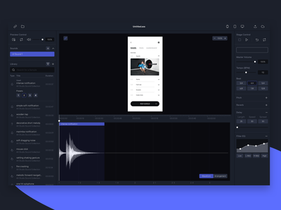AX STUDIO – A concept for auditory interaction design dark dark ui app design app interaction design ui sounds ux sounds sounddesign sound ux ui uiux