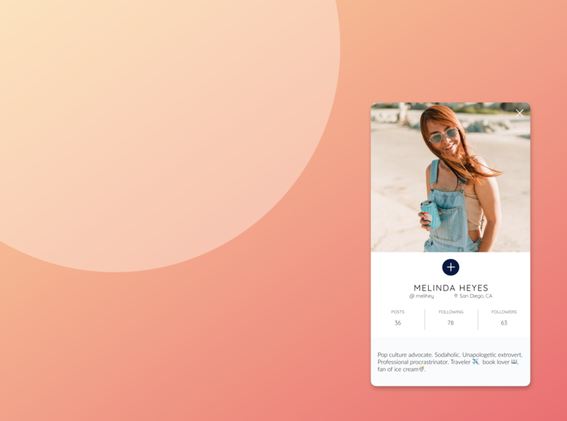Social Profile Card app design mobile ui profile card ui design ui dailyui