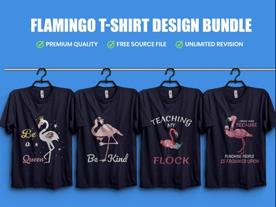 New Flamingo T-Shirt Design Bundle​​​​​​​
