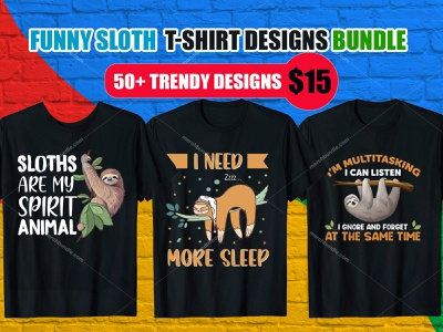 FunnySloth T-Shirt Design Bundle branding t shirt design online free t shirt design vector logo vector ux amazon t shirts design illustration t shirt design ideas t shirt design studio
