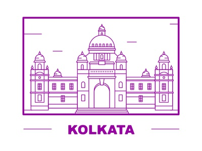 Victoria Memorial - Kolkata victoria memorial kolkata line art illustrations city clean flat design vector illustration graphic