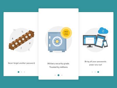 Onboarding Screens - Password Manager onboarding material design password illustration app design flat vector ux ui