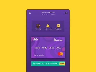 Zeta v2 homescreen vector pay card payment illustration design ux ui