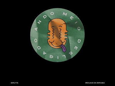 Sticker For Gruta smiley face cartoon smile adventure time typography 3d vector art logo illustration design branding