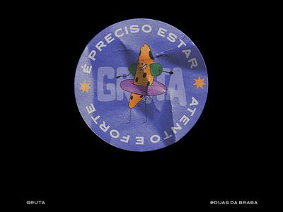 Sticker for Gruta 3d art typography adventure time 3d vector art logo illustration design branding