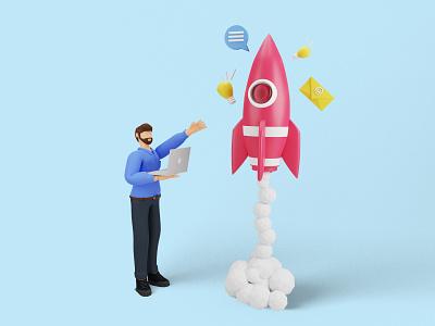 Business Startup communication messege idea mail device laptop rocket business branding ux uiux ui illustrations 3d 3d character 3d illustrations 3d rendering marketing startup