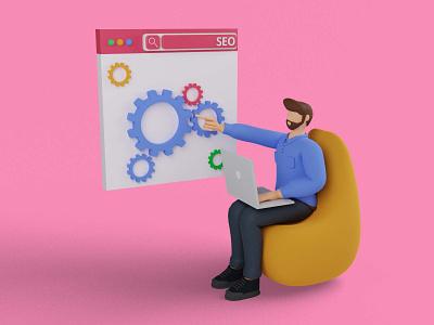 Search engine concept illustration design 3d 3d characters webapps uiux webdesign blender appmobile ui design ui businessman 3d illustration man business statistics promotion digital marketing seo