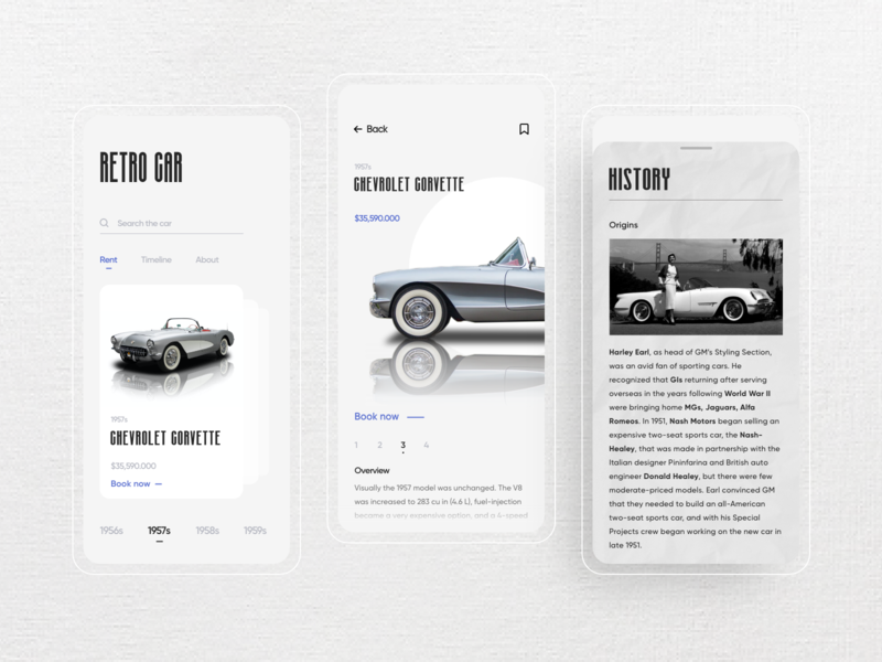 Retro Car UI Design product design mobile ui mobile dribbble concept likeforlike classic old appdesign app ecommerce uiux uidesign design ui rent booking retrocar retro car