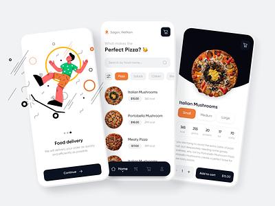 Food Delivery App   UI Design Concept burger app design food and drink shop ecommerce trendy trend clean ui food app delivery food pizza app pizza illustration dribbble concept uiux likeforlike design ui