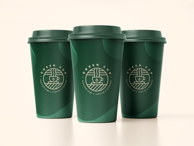 Green Cup Coffee brand cup design logotype logodesign branding brand identity vector badge logo badge logo coffee