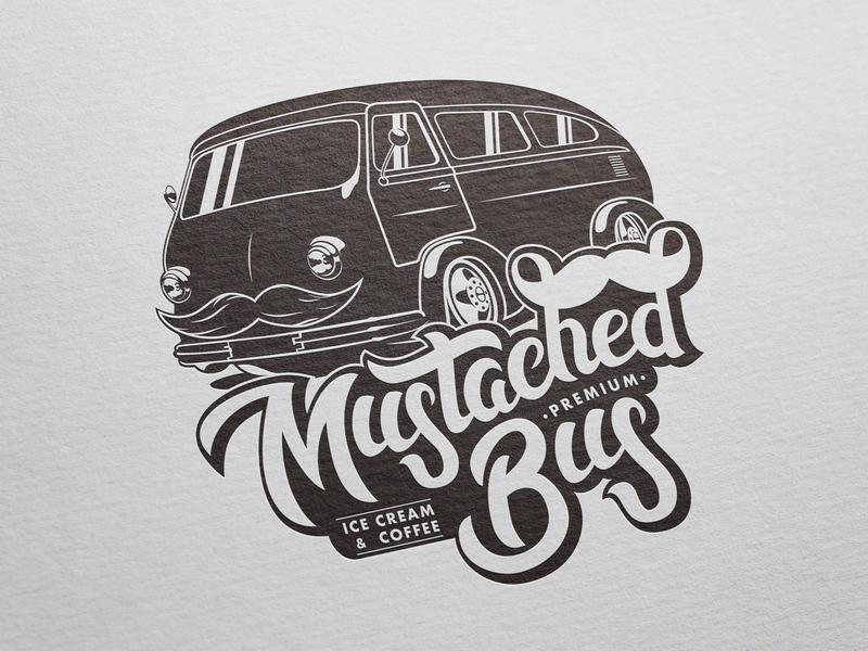 Logo & Illustration for Mustached Bus car illustration design type handmade lettering handlettering typography