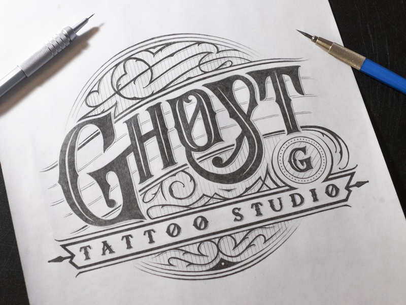 Ghost Tattoo Studio vintage badge лого леттеринг handtype typography type logotype logo lettering sketching sketch