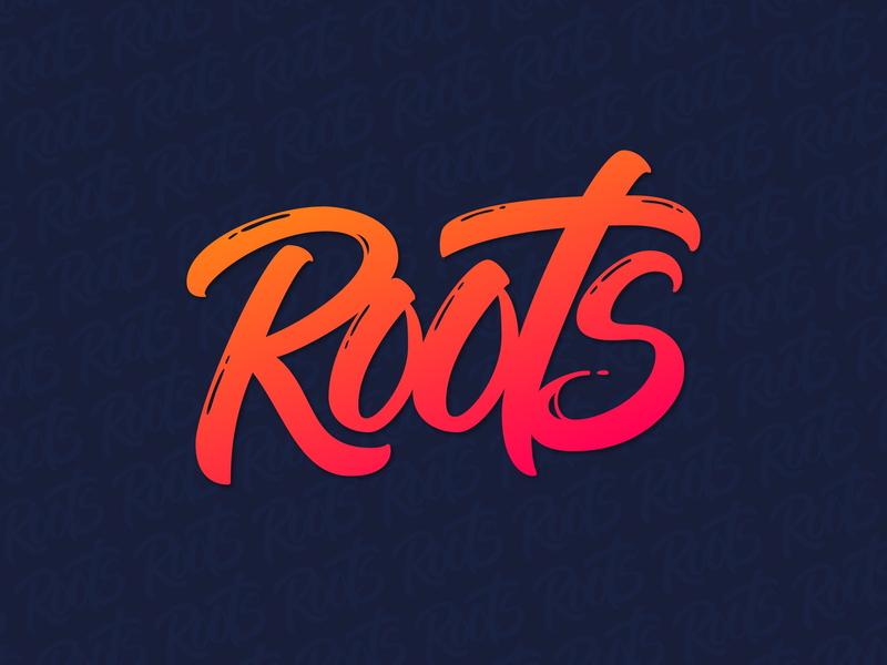 Lettering Logo for ROOTS brushtype vector typedesign handtype лого script леттеринг logodesign logotype handlettering typography type logo lettering