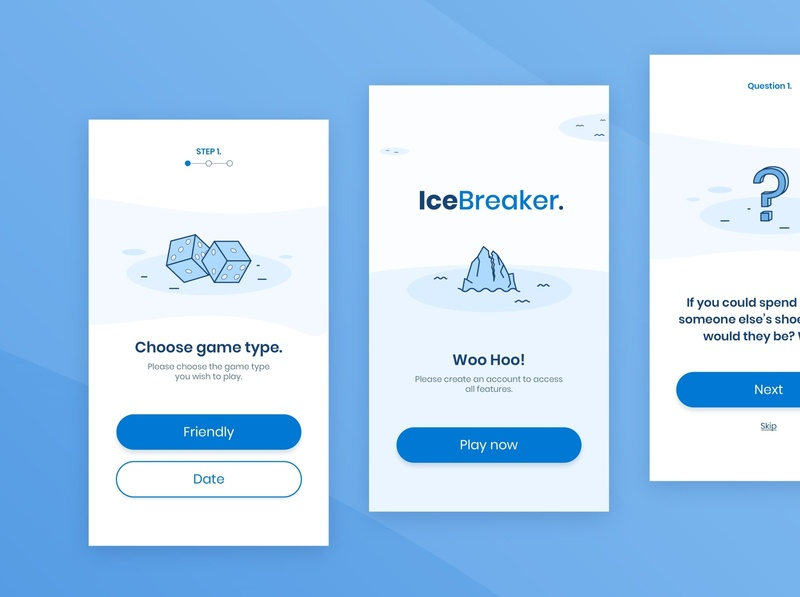 Mobile app design - IceBreaker vector ux branding ui design website design web illustration illustration flat icon flat design