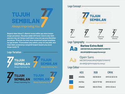 Seven Nine Logo simplelogo minimalist tech logo company nine seven number greys blue gold typography branding logo design illustration