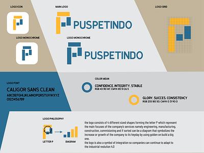 PUSPETINDO Company logotype logogram square learning indonesia indonesia designer design blue vector graphicdesign gold simplelogo minimalist branding logo company