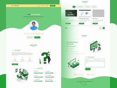 Portfolio Website with Green Color graphicdesign typography ux vector design illustration logo branding graphic design ui