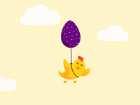 Happy Easter! 🐣 clouds 2d motion after effects animation illustration procreate art yellow loading animation ui animation design 2d animation motion design motion graphics chicken cute animal animations after effects procreate easter egg easter happy easter