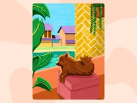 Doggy 🐶 procreate art procreateapp balcony warm colors dog colorful illustration procreate pomeranian