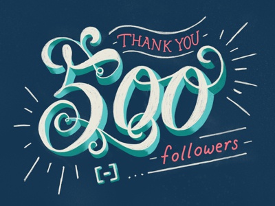 500 Followers! followers typography illustration procreate lettering