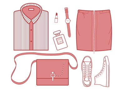 Fashion Icons skirt shoes watch clothes chanel converse icons simple red illustrator fashion