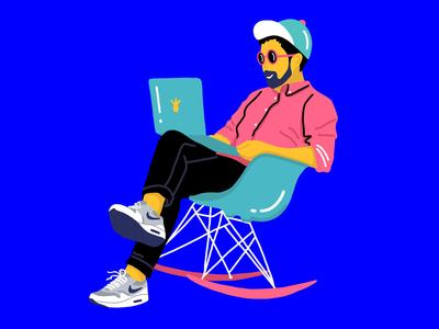 UX Designer procreate illustration bright colors hipster nike simple pinapple guy designer