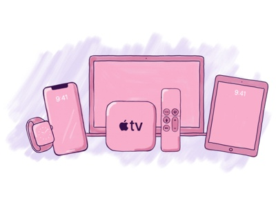 Pink Apple Devices procreate sketching pink watch appletv ipad iphone devices apple