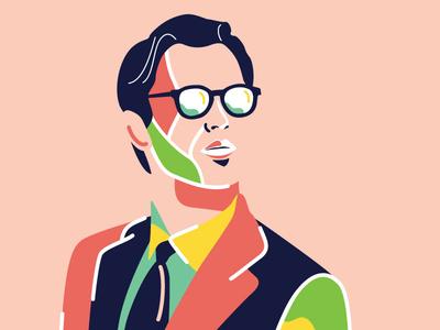 Handsome guy art male vector bold guy illustrator artsy colors illustration