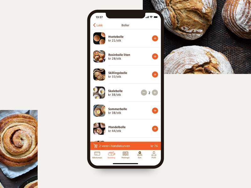 Ordering Feature for Godt Brød - Category view order buns ui ux ui design ux app design app ios