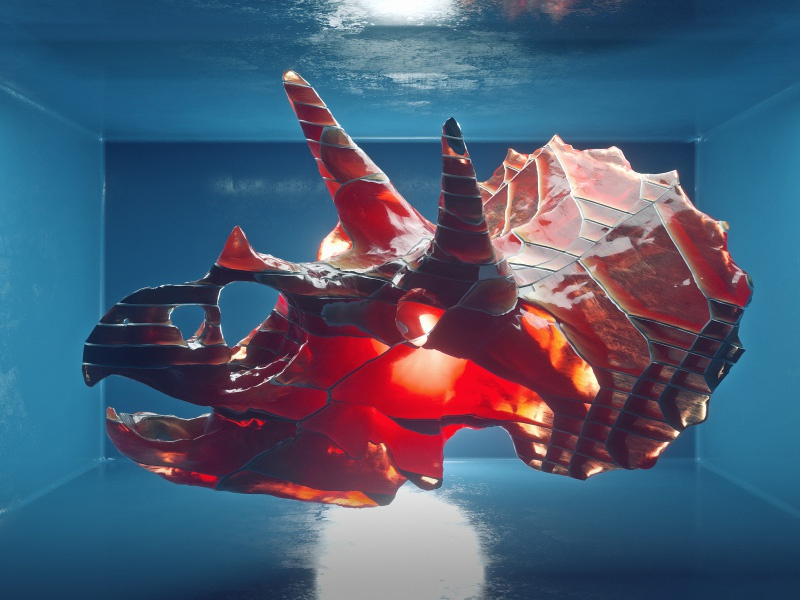 Triceratops octane dinosaur triceratops glass refraction after effects c4d cinema 4d 3d