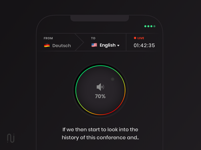 Real-Time Translation app skeumorphism subtitle german english tuner translation interaction dark ios design app mobile ux ui