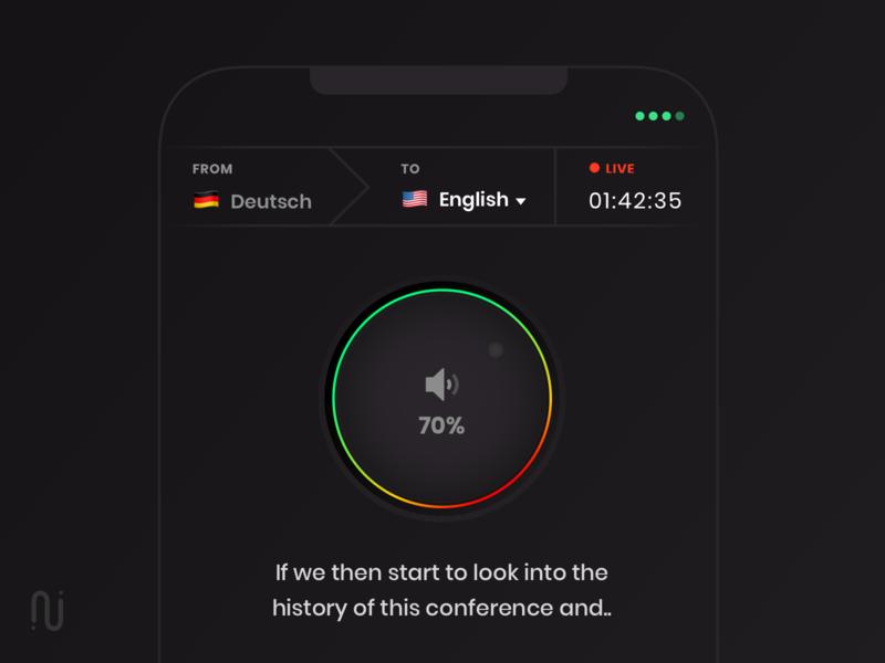 Real-Time Translation app skeumorphism subtitle german english tuner translation interaction dark ios design app mobile ux ui