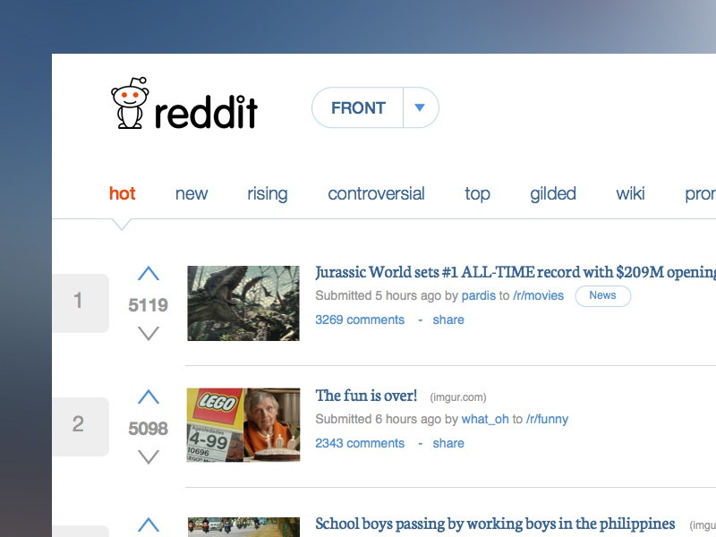 Reddit Home Redesign concept list front clean web redesign reddit feeds news flat sketch ux ui
