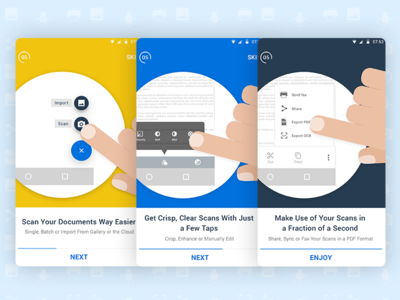 Docufy walkthrough screens documents scans illustrations material flat walkthrough ux ui android mobile docufy