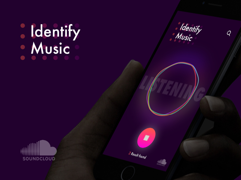 Identify Music for Soundcloud circles animation listen identify music soundcloud dark app ux ui