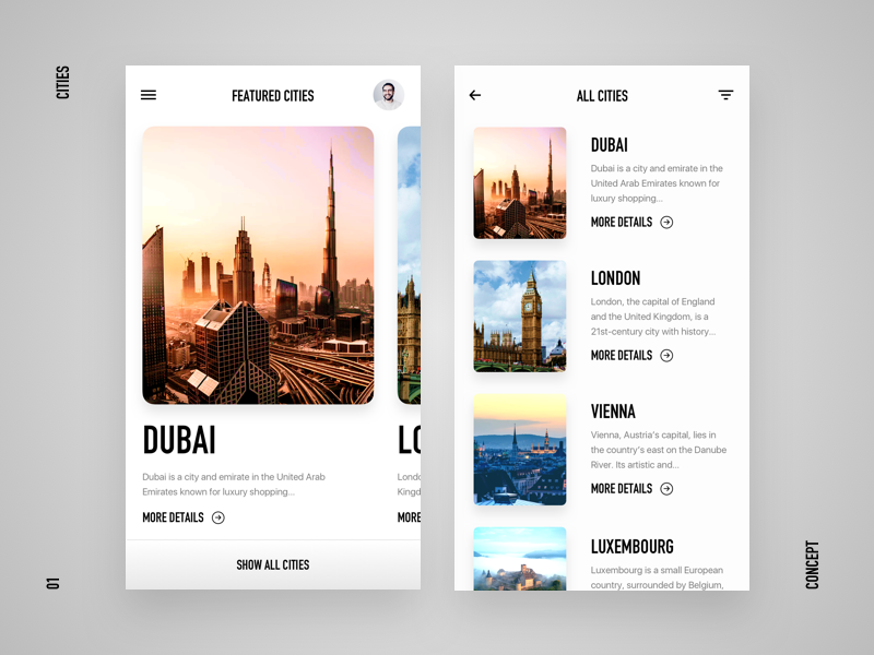 Cities UI Experiment clean mobile app cards featured luxembourg vienna london dubai cities ux ui