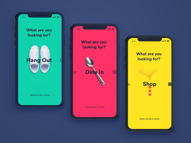 Swipe Concept flat sketch ios principle colorful design swipe app mobile ux ui