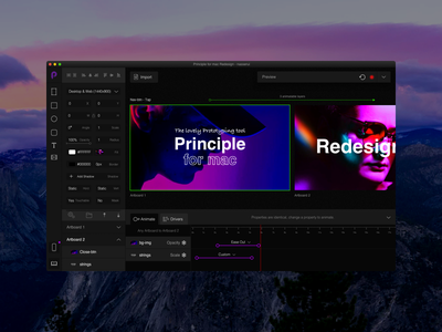 Principle for mac redesign timeline frames tool animation dark principle design app ux ui