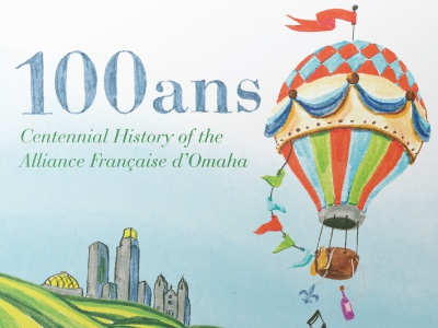 Alliance Francaise d'Omaha illustration pen hand drawn watercolor book cover book