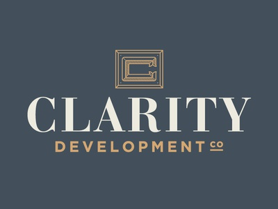Identity Design for Real Estate Development Group gold gray branding identity real estate clarity c