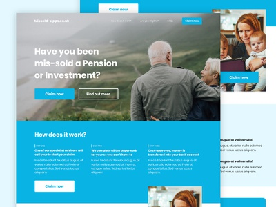 Claims Landing Page investment pension desktop money finance page landing claims
