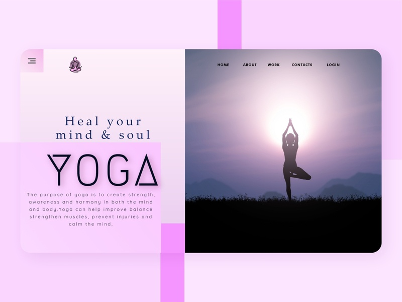 Heal your Mind and Soul by doing Yoga this quarantine strength balance fitness soul mind purple uiux health adobexd digitaldesign uiuxdesigner web design yoga pose yoga web minimal illustration graphic design design clean
