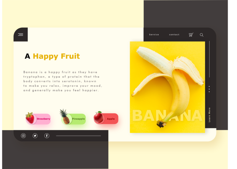 Eat Banana and Stay Happy healthy black yellow fruits herb illustraion fruit banana uiuxdesign userinterface webdevelopers webapplication uiuxdesigner digitaldesign adobexd graphic design design